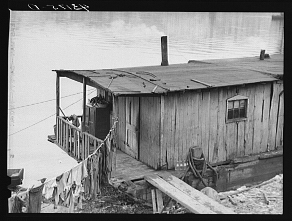 Houseboat on the Ohio River at Rochester, Pennsylvania-1940