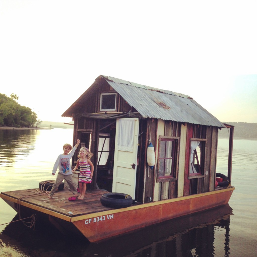 Logan and Emilia aboard the shantyboat