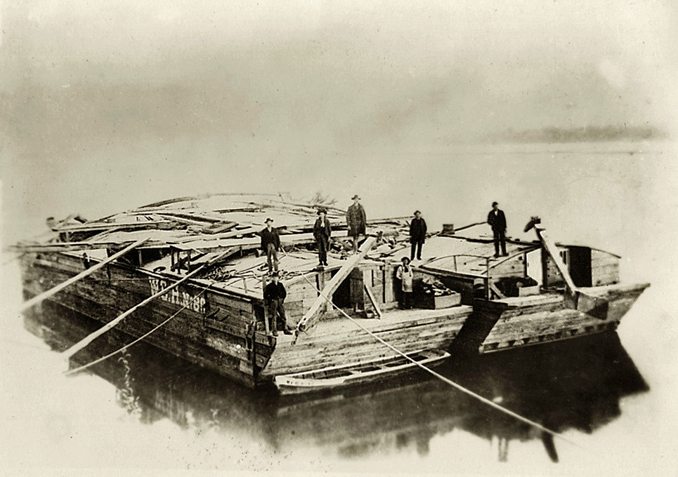 Storeboats lashed together near Louisville, Kentucky