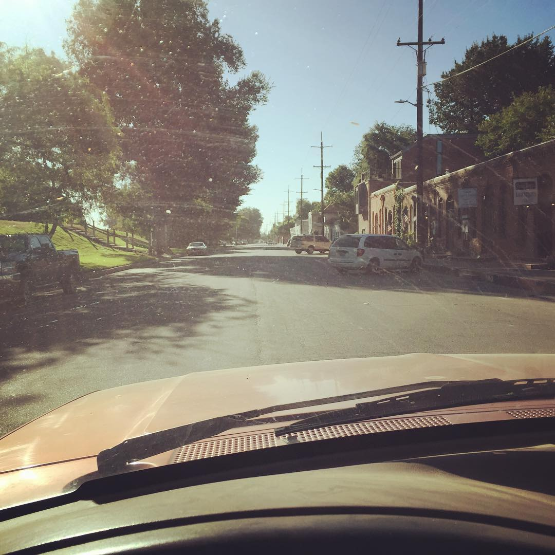 Behind the wheel of an early 80s Ford pickup to breakfast in Colusa thanks to Mike
