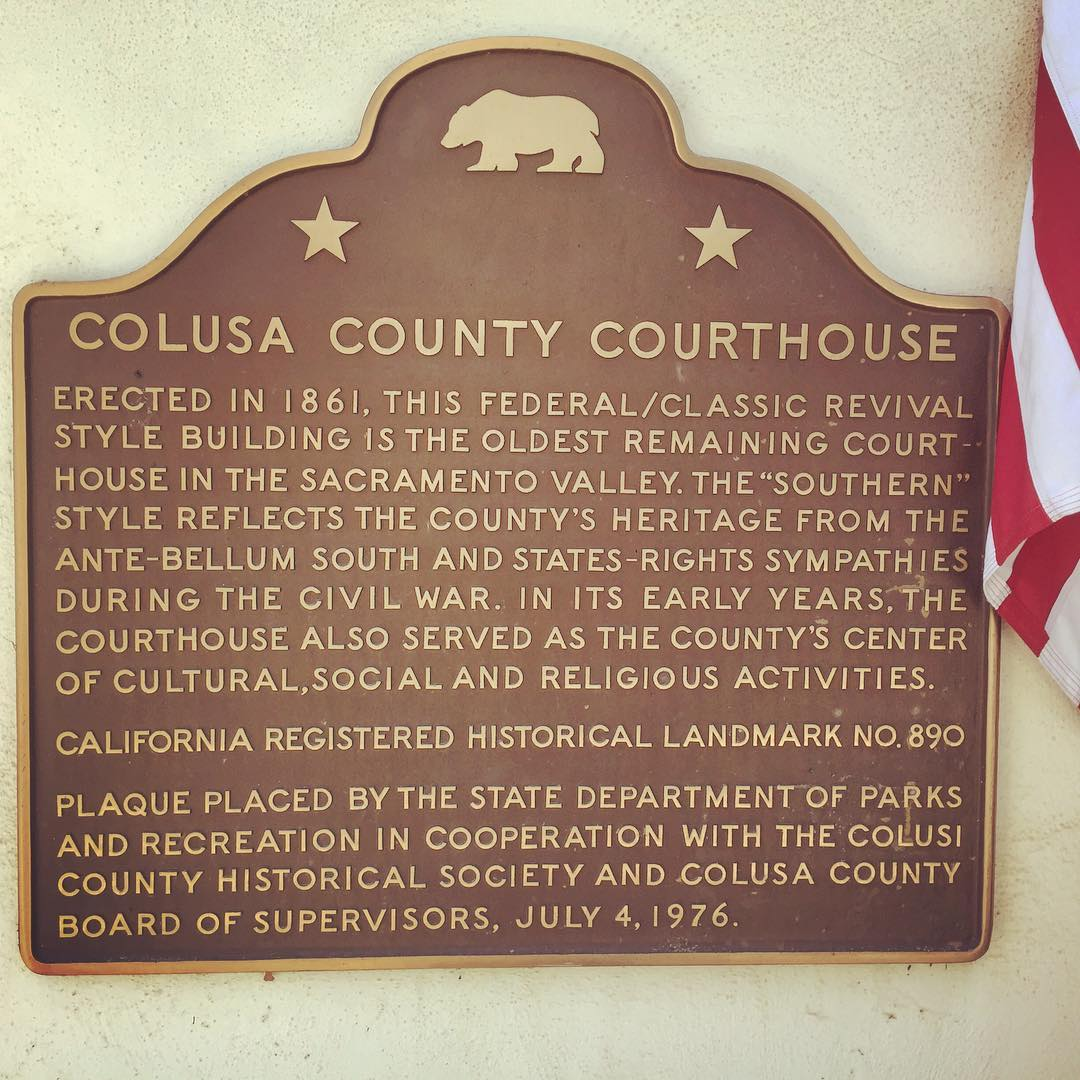 """""""County's heritage from the ante-bellum South and states-rights sympathies"""" is a bit of an understatement. In fact, Colusa County, a mostly rural Southern Democrat county, voted for California to secede from the Union. When Lincoln was assassinated many in the county celebrated, resulting in the arrests of the most adamant revelers by Union soldiers. While these pro-South sentiments were fairly common in California in the 1860s, here in Colusa it is preserved in the architecture and inscribed on the landscape"""
