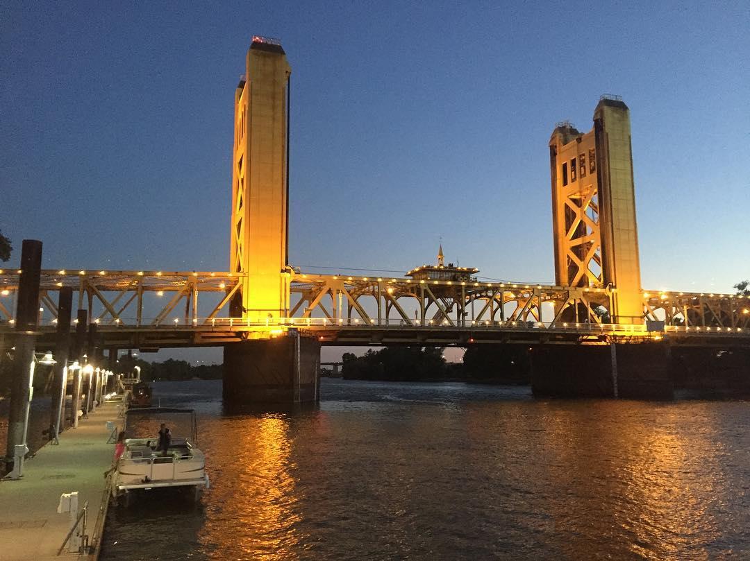 Dramatic bridge downtown Sacramento
