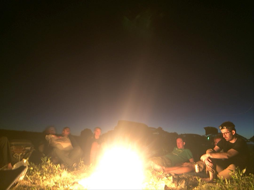 Campfire at Tim Anderson's DeltaFarm at the confluence of the Mokelumne and San Joaquin Rivers