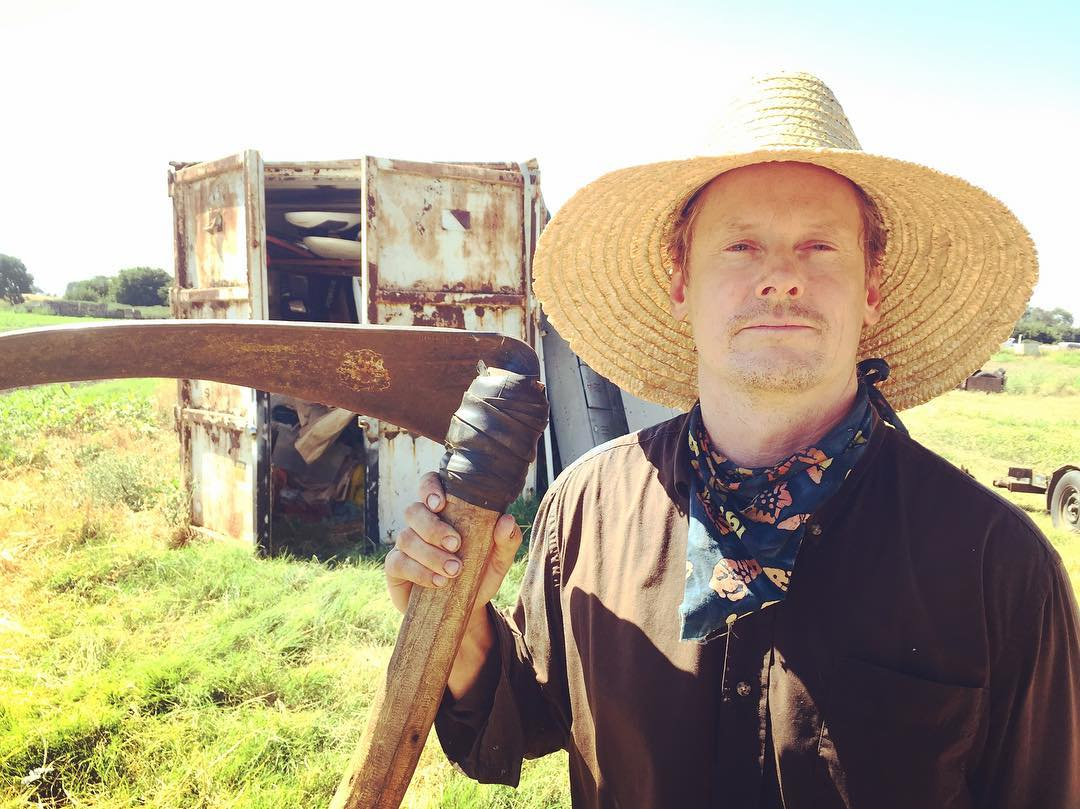 Tim Anderson, boatbuilder, maker, and heirloom technologist at his DeltaFarm, an organic farm  and DIY tech experiment along the San Joaquin River