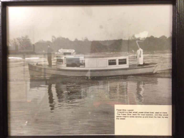 "A delta shop boat. ""The Fraser Bros were the local butchers, and they would deliver meat to the various ranches up and down the river, by way [of] this vessel."" Photo at the Rio Vista History Museum"