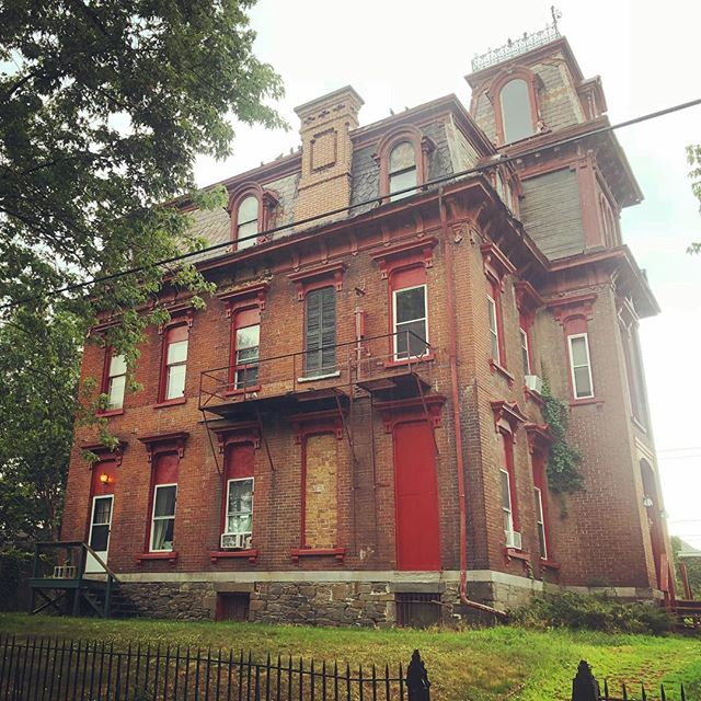 In north Troy, old money houses like these, clearly having seen better times, were next door to double wides