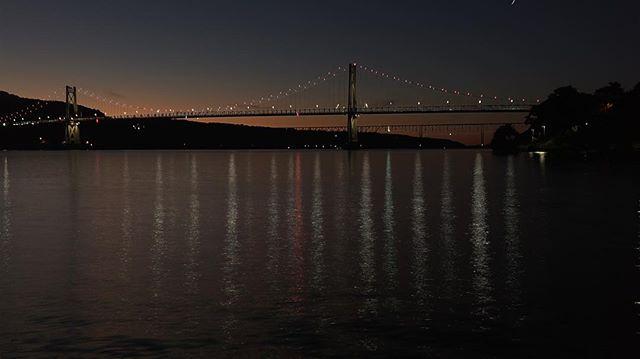Poughkeepsie bridges at sunset. #shantyboat