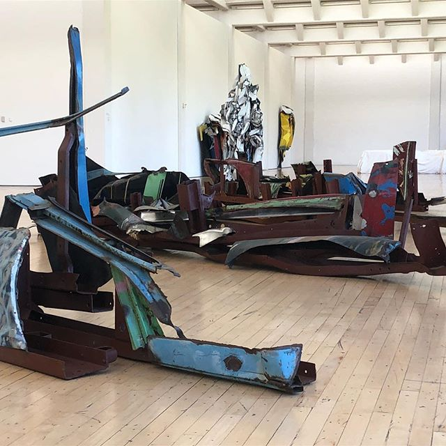 John Chamberlain sculptures at Dia:Beacon. He referred to these as Gondolas. The piece referencing Melville is in foreground. Thanks to curator Daniel for showing us around. #shantyboat #artgallery #artmuseum