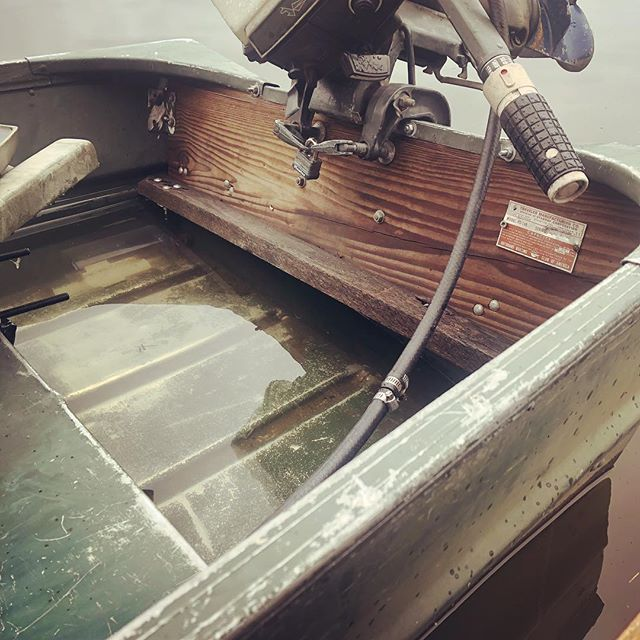 The jonboat looks like a swimming pool after last night's torrential downfall #shantyboat #heavyrain #rain